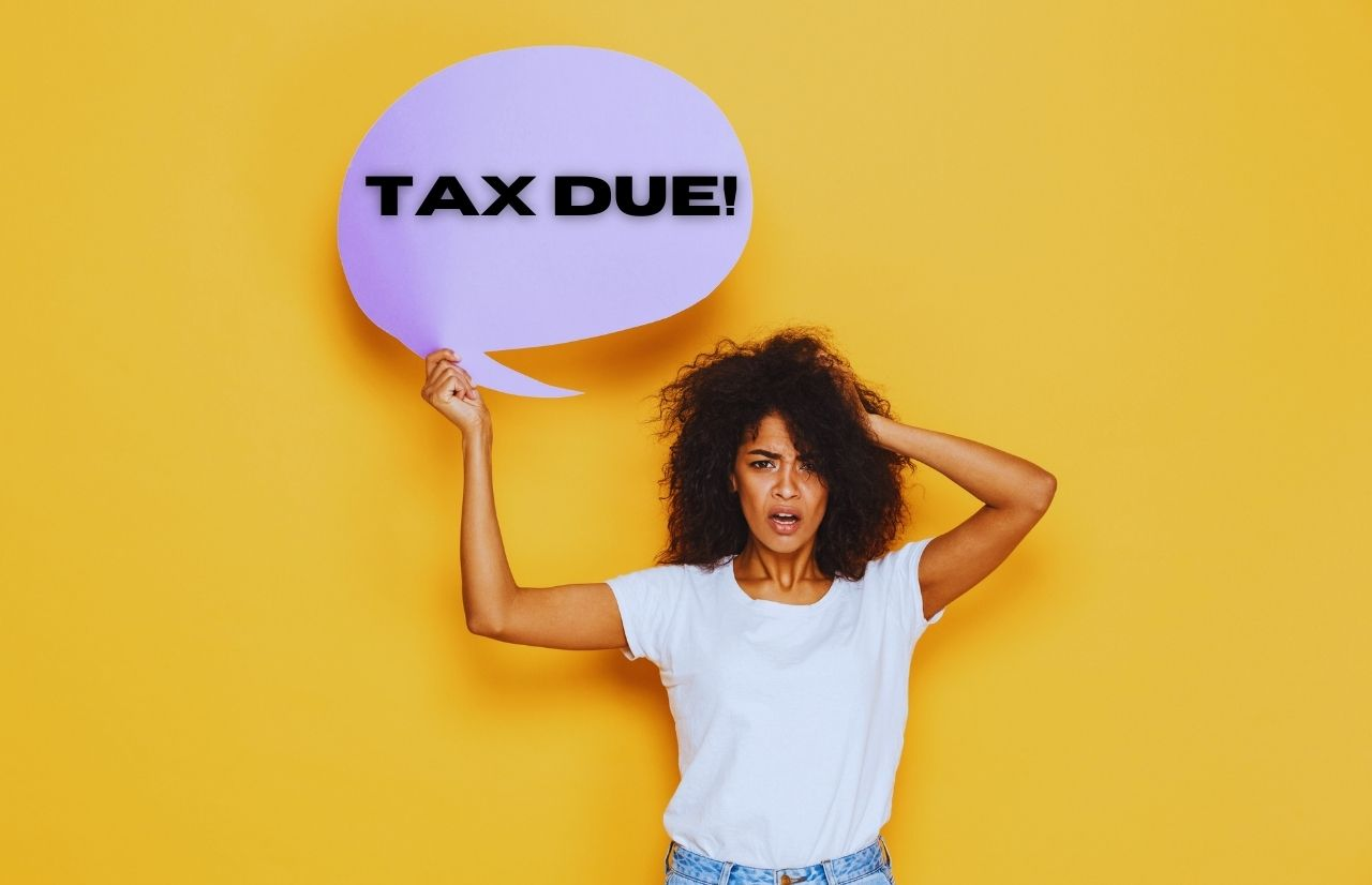 TAX DUE with Black lady with shocked face What to Bring to Tax Appointment